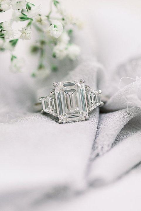 Emerald And Trillion Three Stone Lab Diamond Engagement Ring In Yellow G Lab Diamond Engagement Ring Three Stone Engagement Rings Lab Grown Diamonds Engagement
