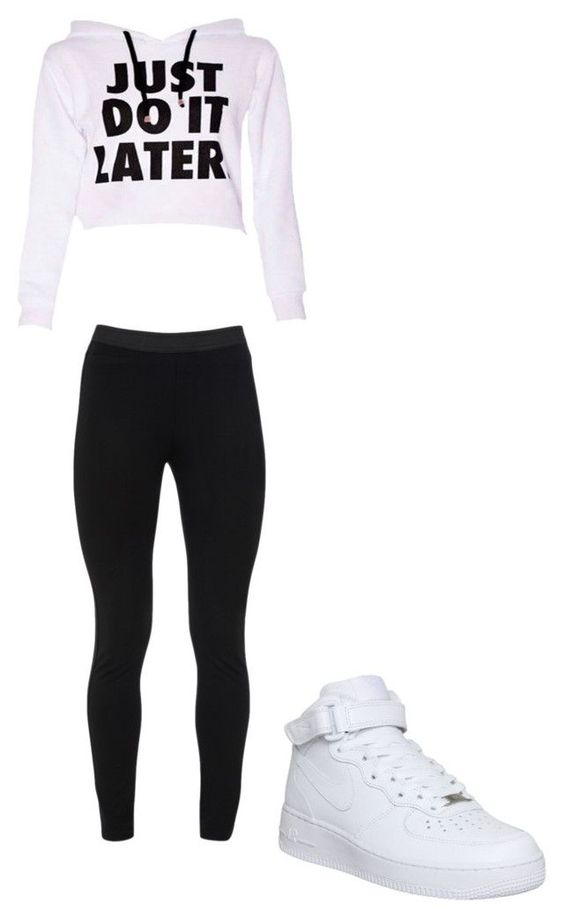 """""""Just Do It Later"""" by hdflynn ❤ liked on Polyvore featuring Peace of Cloth and NIKE"""