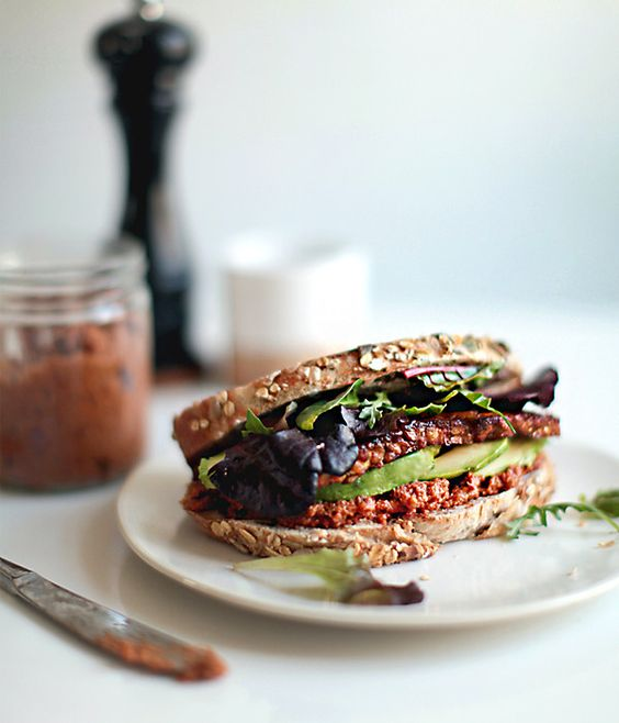 For a healthy bite we reccomend this Smoky Tempeh Sandwich!