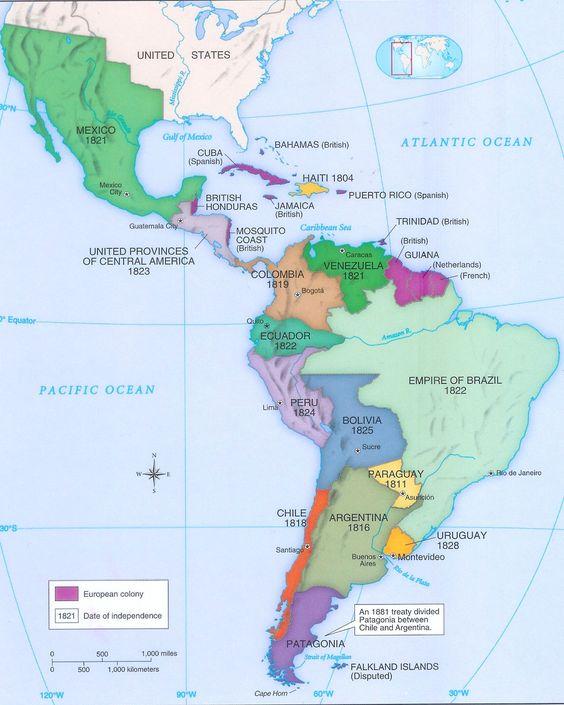 Map Of Latin America During The Latin American Wars 3