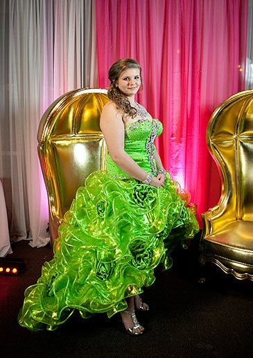 A lime green cancan skirt and blinged bodice. Sondra Celli