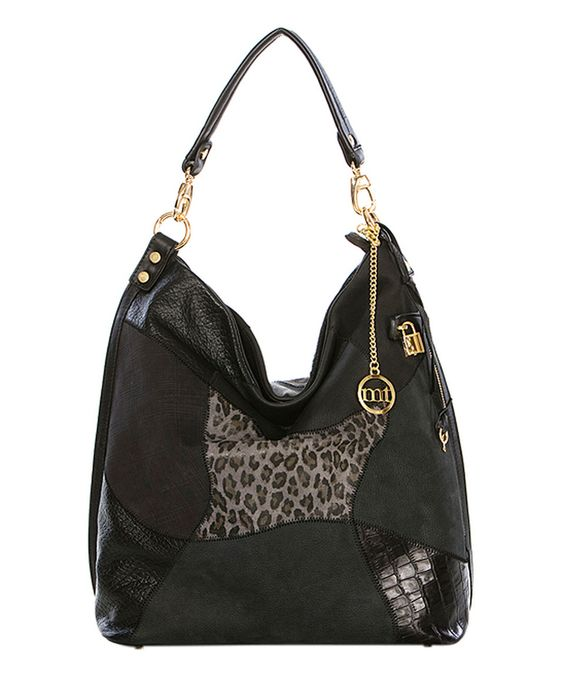 Love this Black Leather Patchwork Tote by Mia Tomazzi on #zulily! #zulilyfinds