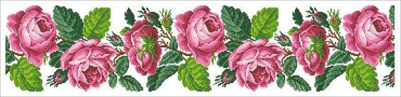 Berlin Woolwork Floral Rose Border Panel by MyTreasureIsland, $5.65
