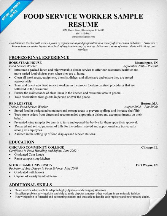 resume  sample resume and food service on pinterest