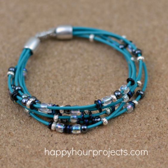 simple layered leather and bead bracelet at www