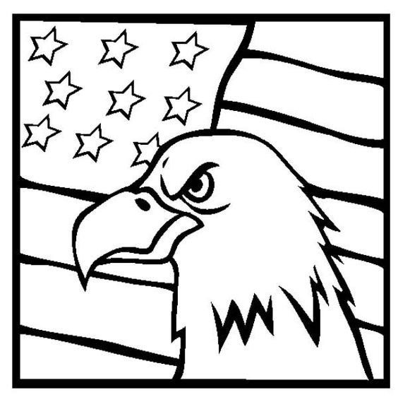 American Eagle And US Flag Veterans Day Coloring Page