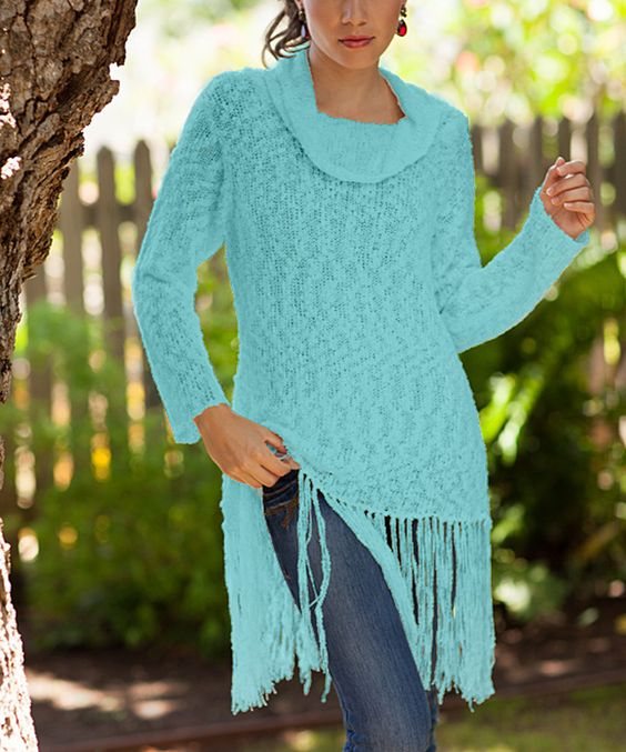This Baik Baik Turquoise Fringe-Trim Cowl Neck Sweater Tunic by Baik Baik is perfect! #zulilyfinds