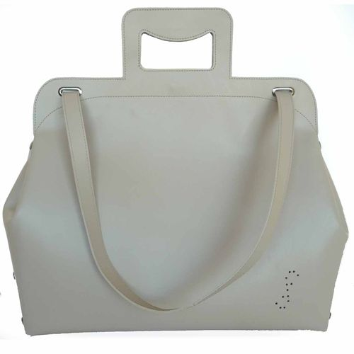 """Leather bag """"Pop'ins"""" made of cream coloured cowhide leather at Desiary"""