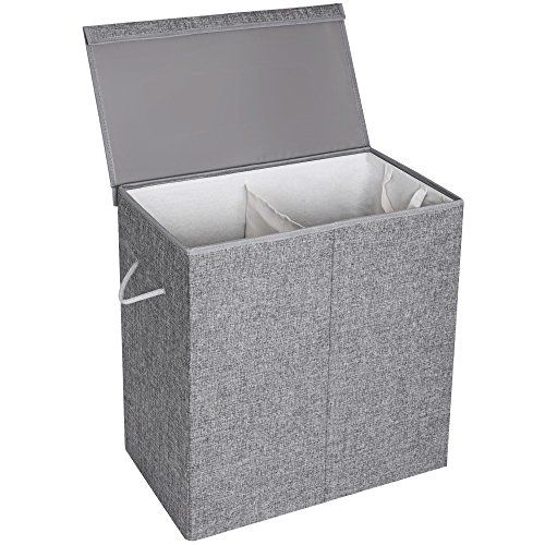 Songmics Fabric Double Laundry Hamper Separate Compartments Sorter