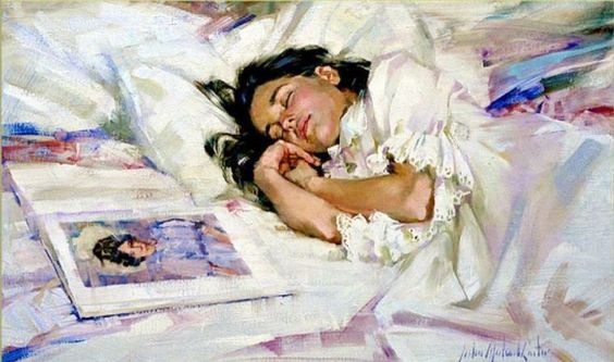 Amélia dormindo, s/d John Michael Carter ( EUA, contemporâneo) óleo sobre tela,  50 x 75cm www.johnmichaelcarter.com