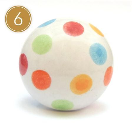 Multicoloured Spot Furniture Knobs, Set of 6