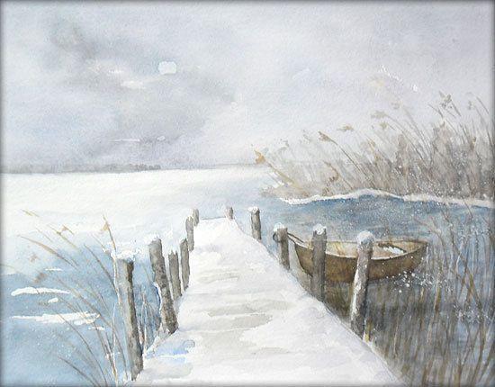 Winter Am Bodden Aquarell 24 X 32 Cm Original Aquarell