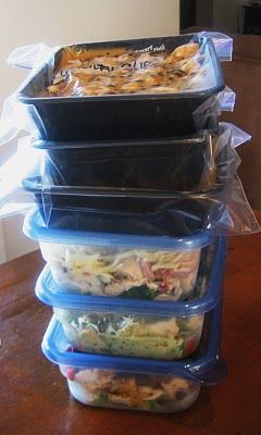One cooking session, six different casseroles for the freezer. to be cooked in the microwave. This is a brilliant post, I haven't checked out the rest of the blog yet but I'll bet it's great.