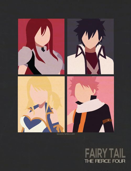 Fairy Tail the fantastic four Erza, Gray, Lucy and Natsu