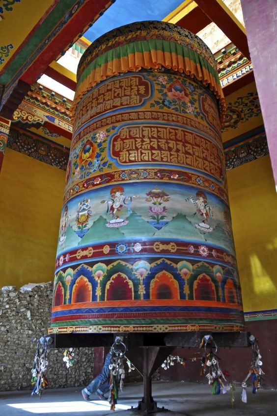 Prayer wheel at Juela Monastery