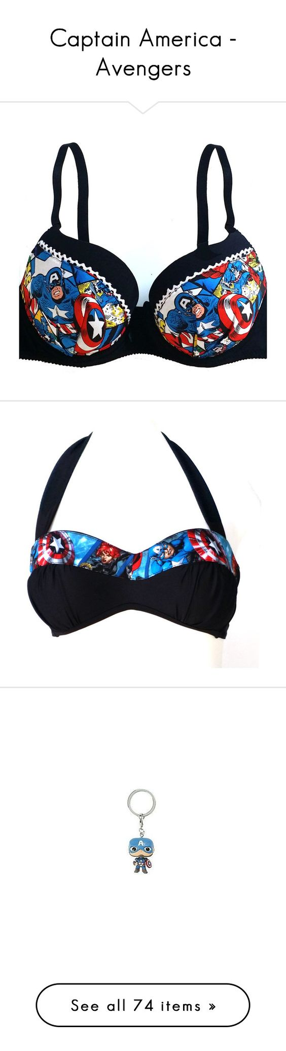 """""""Captain America - Avengers"""" by firenzed ❤ liked on Polyvore featuring intimates, bras, underwear, lingerie, bras and pantsu, undergarements, black, women's clothing, lace push up bra and sexy lingerie bras"""