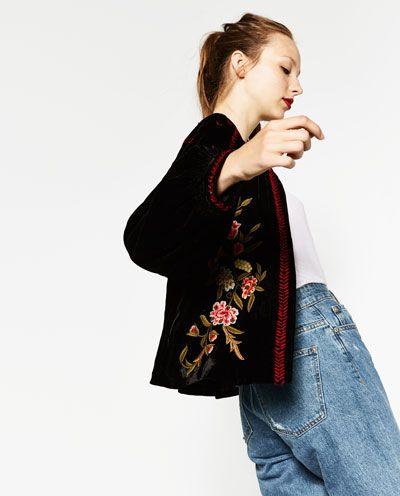 Image 5 of EMBROIDERED VELVET JACKET from Zara
