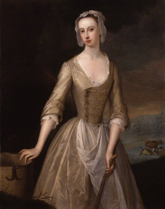 """Notice the buttons are off center on the bodice. """"Catherine Douglas (née Hyde), Duchess of Queensberry"""" attributed to Charles Jervas (1725-1730) at the National Portrait Gallery, London - From the curators' comments: """"Painted at a time when Arcadian themes were fashionable, the Duchess is shown enjoying a rustic idyll. Her hand rests on a milk pail while a real milkmaid is shown milking cows in the background."""":"""