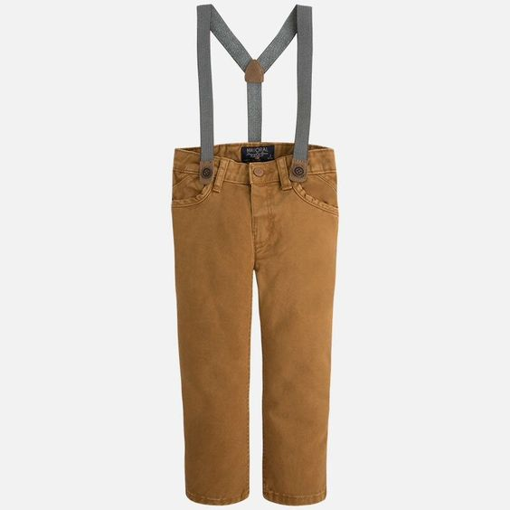 Mayoral Boys Trendy Fit Camel Pant with Suspenders