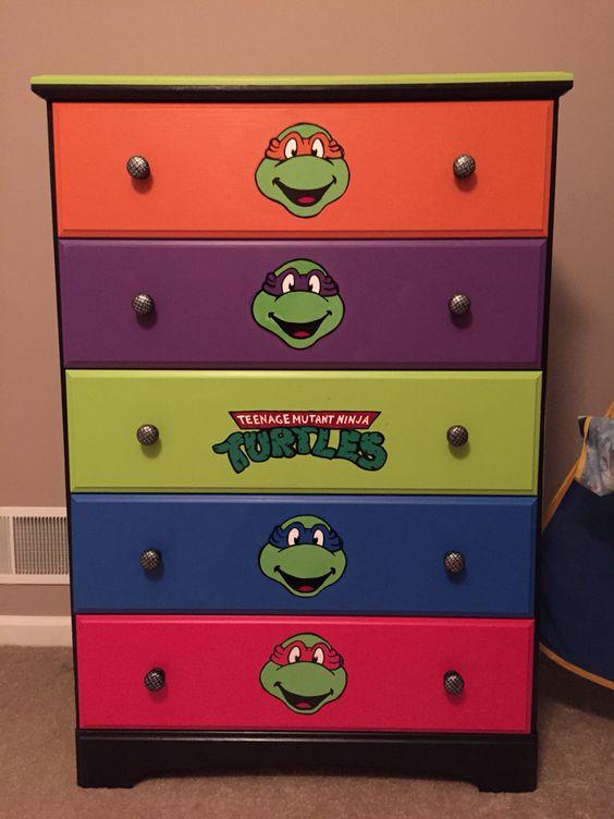 DIY furniture : TMNT dresser idea! My son loves it! Teenage mutant ninja turtle dresser hand painted - no stickers!