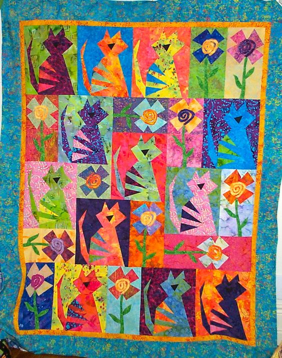 Cat Quilt Patterns | Heather Stewart Quilts: Crazy Cat Quilt Can Be Yours!!: