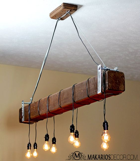 ••••••••••••••••••••••••••••••• F R E E • S H I P P I N G ••••••••••••••••••••••••••••••• Questions? 800-479-0032 ________________________________________ D E T A I L S // • This is a one of a kind beam chandelier made from reclaimed wood made to look like a beam • Hollow to reduce weight and house electrical • Can be hung on any angle • Bulbs: Accepts all standard bulbs up to 60 Watts per socket, Light bulbs not included • Dimensions: Wood Beam is 3-8 ft Long (you choose) x 6 Width...