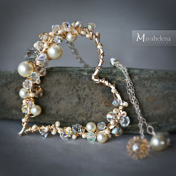 Pearl and Crystal Encrusted Sterling Gold Wire by Mayahelena