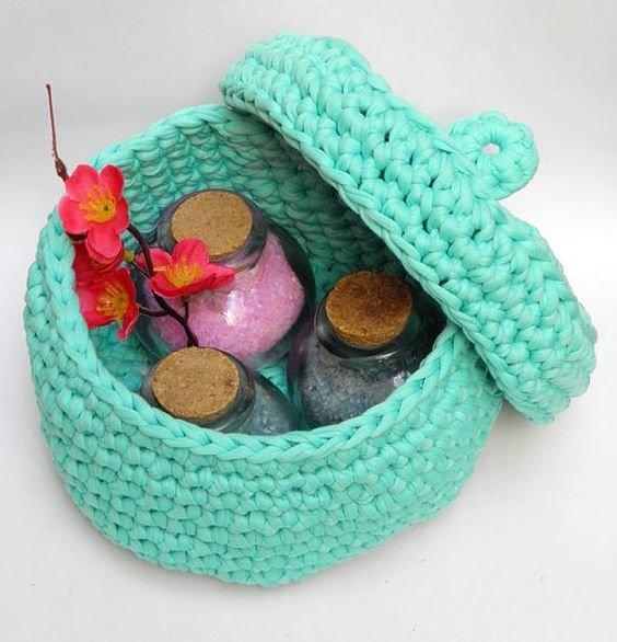 Crocheted Organizer Basket/ Tshirt Yarn by HANDMADEONLYFORYOU