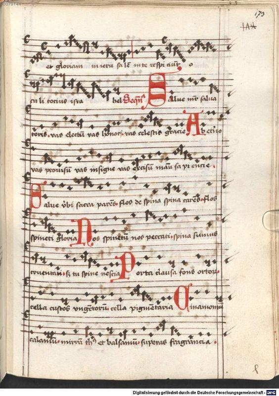 Cantionale, Geistliche Lieder mit Melodien. Münchner Marienklage Tegernsee, 3. Drittel 15. Jh. Cgm 716  Folio 173