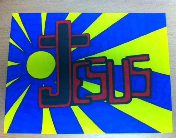 """Jesus Shines - used Sharpie markers on a 9"""" X 12"""" medium weight paper."""
