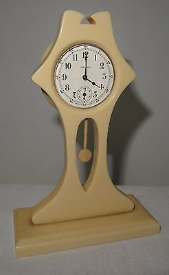 Antique ART NOUVEAU Bakelite Clock Table Vanity Petite Slender IVALEUR