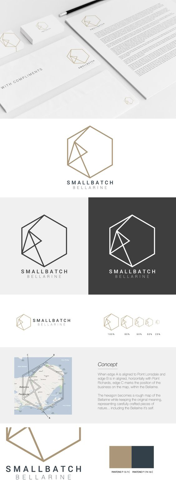 A start-up focusing on distribution of good, honest and local produce and wines. Their logo brief was specific in that the hexagon represents carefully crafted pieces of nature. To ensure the abstract nature of the brand didn't become too generic with current trends, we moved our attention to combining a unique perspective to the geometric makeup of the hexagon. We turned the shape into a scaled map pinpointing the business location and distribution area. #logo #design #hexagon