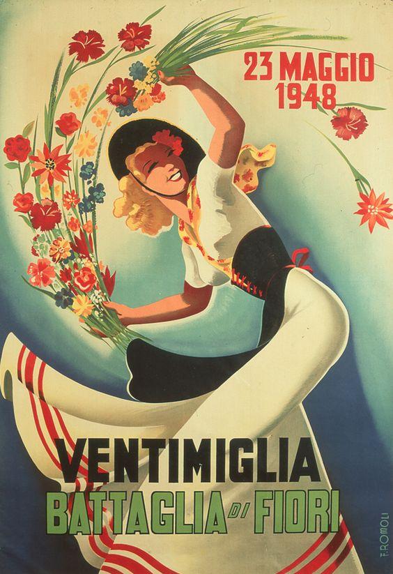 Filippo Romoli (1901-1969), ca 1948, Battaglia di fiori, Ventimiglia. (I)