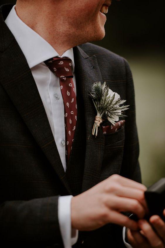 Groom Suit Black Red Tie Buttonhole Hazel Gap Barn Wedding The Light Painters #Groom #WeddingSuit #BlackSuit #RedTie #Groomsmen #Wedding