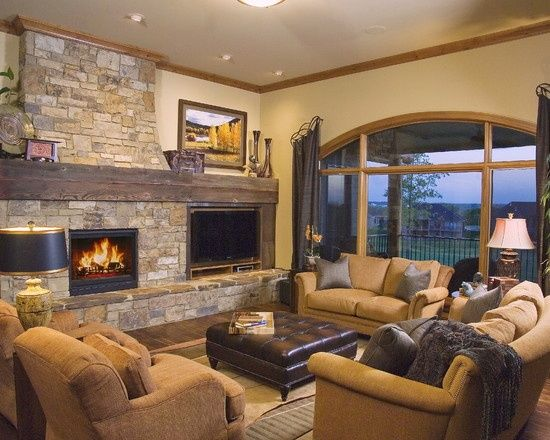 tv side by side fireplace | Stone fireplace with TV on the side ...