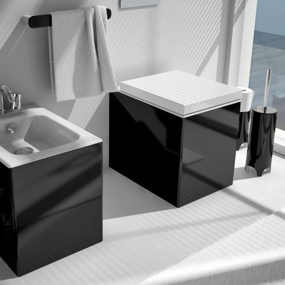 art ceram stand wc und bidet block wei schwarz black and white pinterest art. Black Bedroom Furniture Sets. Home Design Ideas