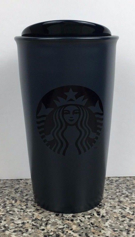 Travel With 2015 Blue Starbucks 12oz Tumbler Coffee Dark Ceramic Mug bf6gY7yv