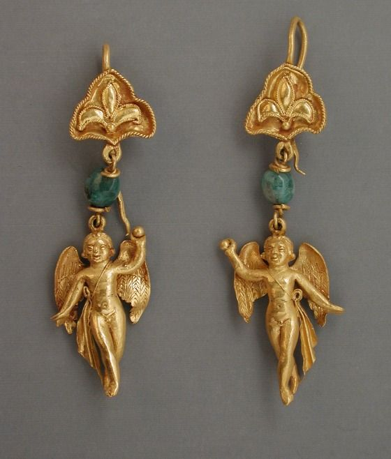 Pair of Earrings. Eastern Mediterranean, Hellenistic Period, 3rd-2nd century B.C. Jewelry and Adornments; earrings, Gold: