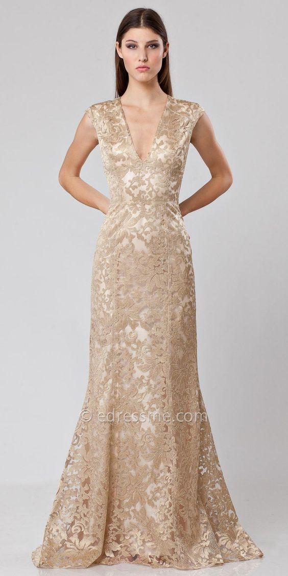 Metallic Lace Evening Gown by JS Collections - Mother of the Bride ...