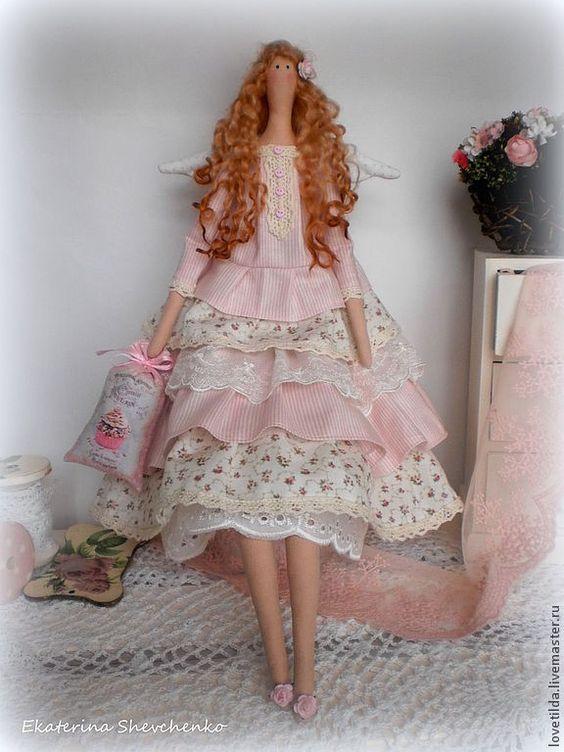 """Купить Ангел Тильда """"Нежная роза"""" - бледно-розовый, роза, тильда, ангел, нежная ♡:"""