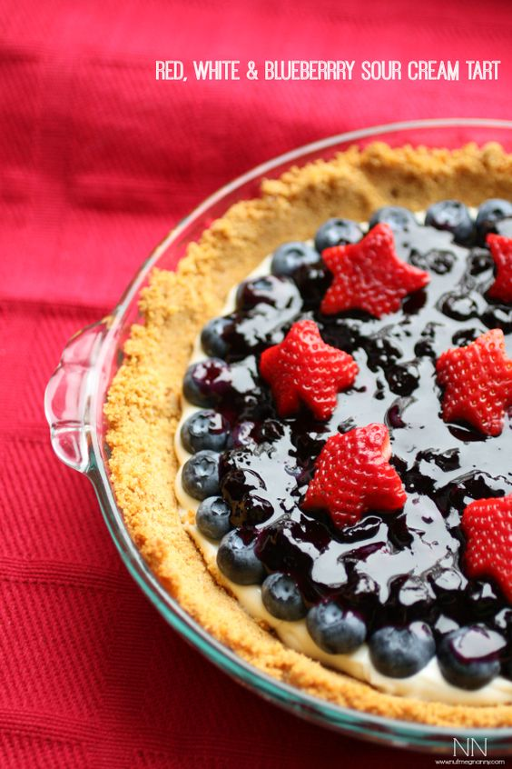 Red, White and Blueberry Sour Cream Tart by Nutmeg Nanny