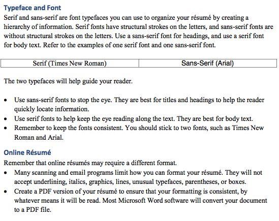 Best Resume Font -    resumesdesign best-resume-font - resume headings format