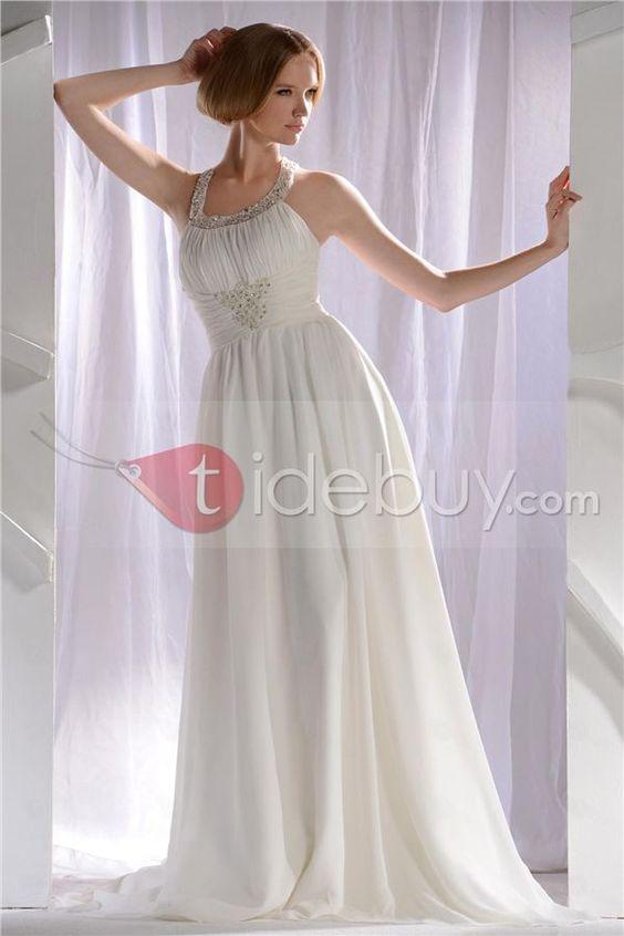 Aライン ひだ飾り ビーズ コートトレーン ロング長さ ストラップ ビーチウェディングドレス