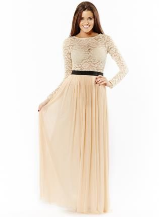 cream maxi dress -lacedress -homecoming - Floor Length Dresses ...