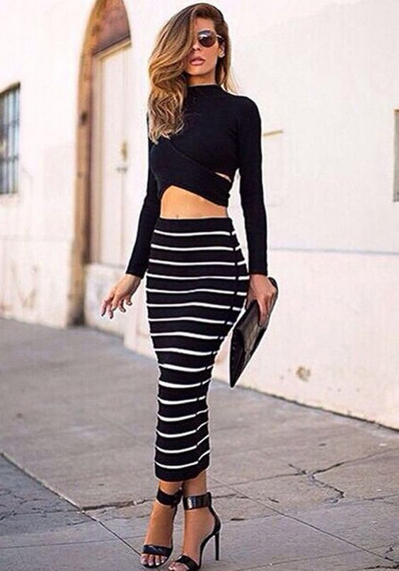 Lady Women Striped Bodycon Stretch Sexy Dress Long Sleeve Tops ...