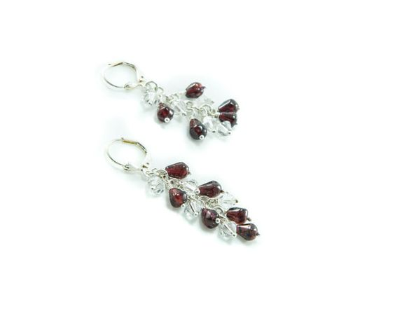 Swarovski crystal and garnet earrings by GemsdeVine on Etsy