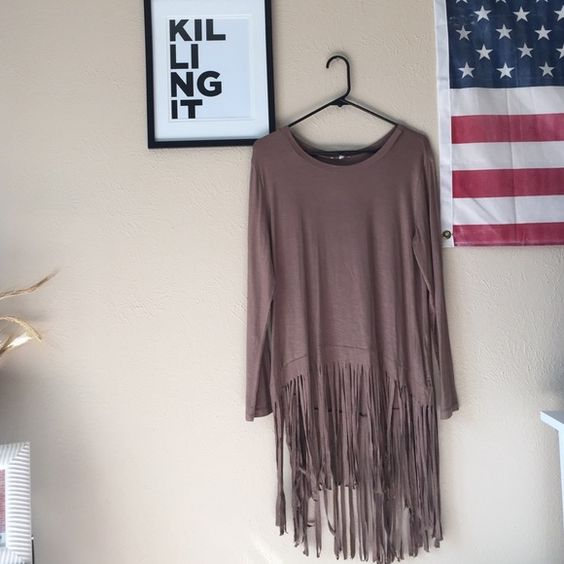 Long tassel top Tan long hassle top // shorter in front than in back // never worn Tops Tees - Long Sleeve