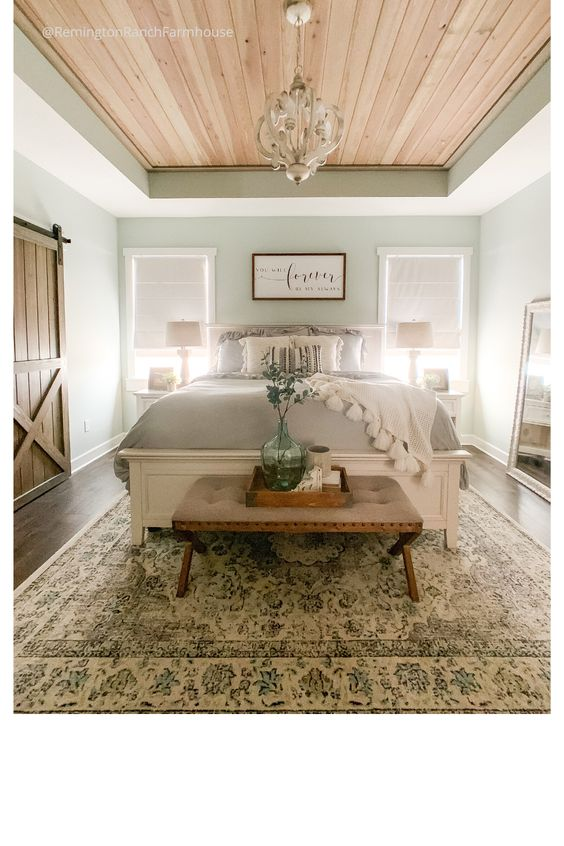 Rustic Farmhouse Master Bedroom - a budget friendly affordable dreamy bedroom | Remington Ranch Farmhouse #farmhousebedroom #bedroomdecor #masterbedroom