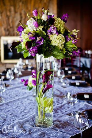 purple and green tall centerpieces - purple calla lilies