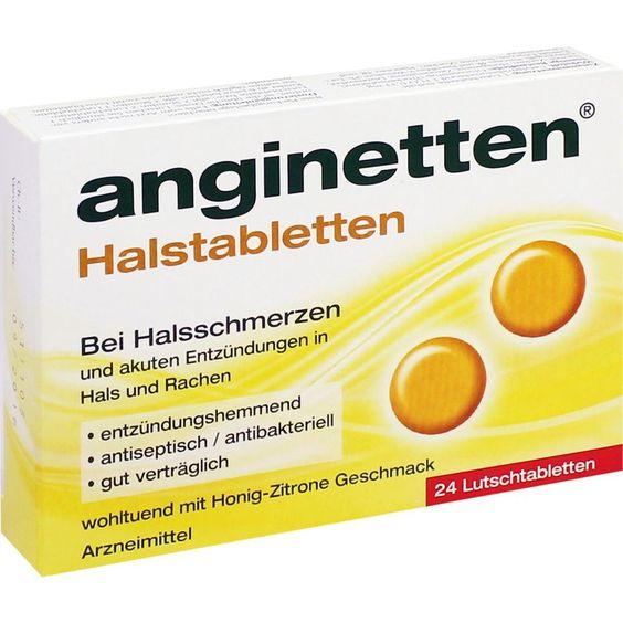 ANGINETTEN Halstabletten:   Packungsinhalt: 24 St Lutschtabletten PZN: 01654092 Hersteller: MCM KLOSTERFRAU Vertr. GmbH Preis: 3,51 EUR…
